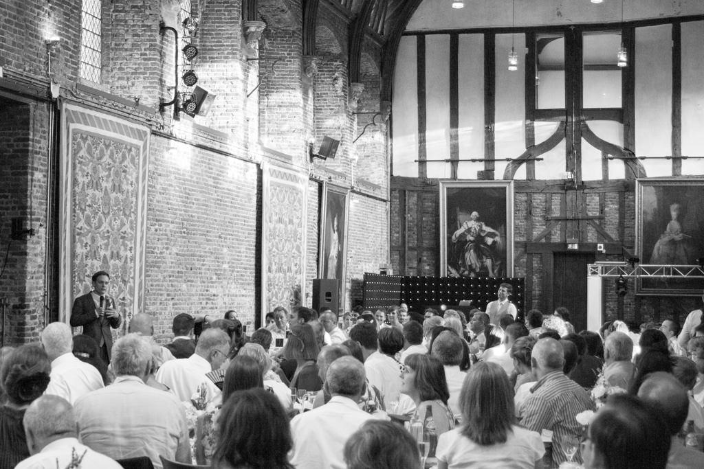 Hertfordshire Wedding Photographer - groom speech black and white