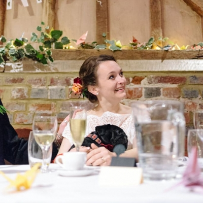 Norfolk wedding photographer – bride with her pug