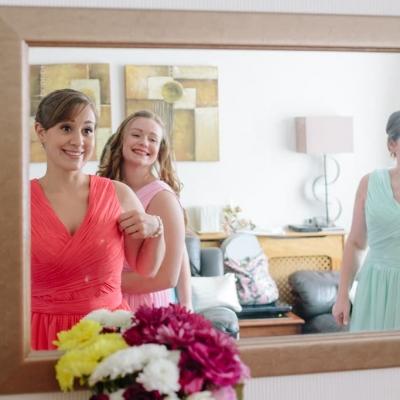 Norfolk wedding photographer – bridesmaids in mirror