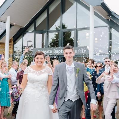 Norfolk wedding photographer – bride and groom Reigate Baptist Church