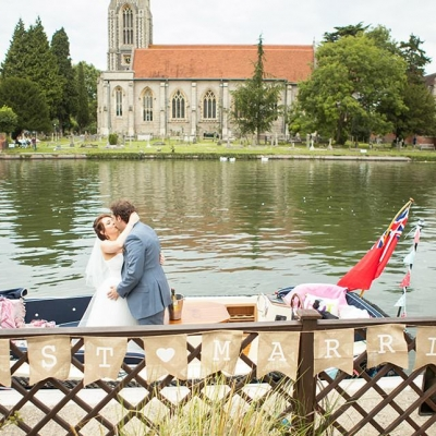 Norfolk wedding photographer – wedding kiss by river