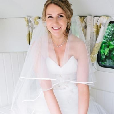 Norfolk wedding photographer – bride in VW Camper