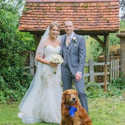 Norfolk wedding photographer – bride and groom with pet dog