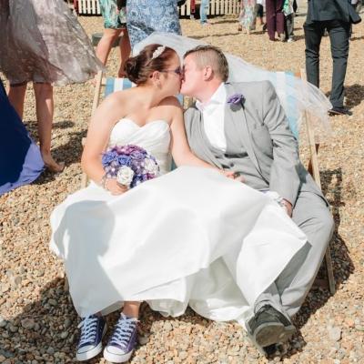 Norfolk wedding photographer – bride and bride Brighton beach