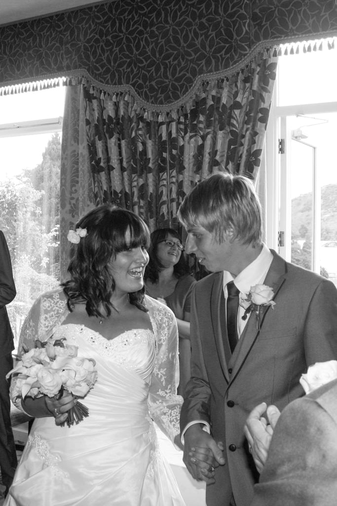 Cumbria Wedding Photographer - bride and groom ceremony black and white